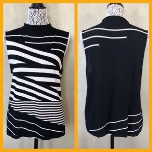 JOSEPHINE CHAUS Black&White Stripes Tank Sweater